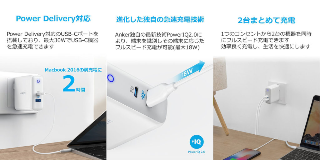 「Anker PowerPort II PD – 1 PD and 1 PowerIQ 2.0」