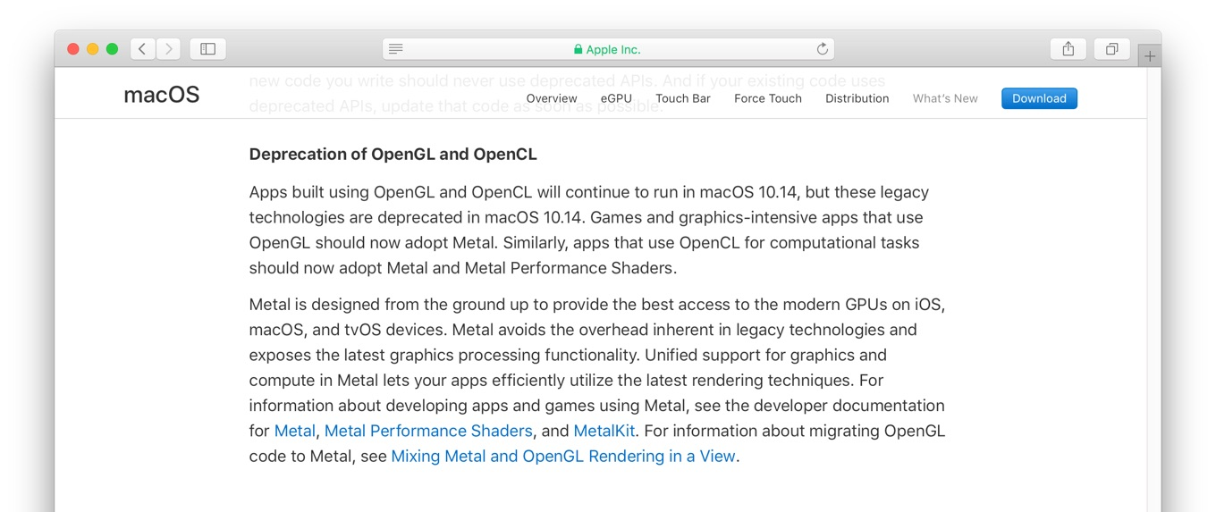 Deprecation of OpenGL and OpenCL