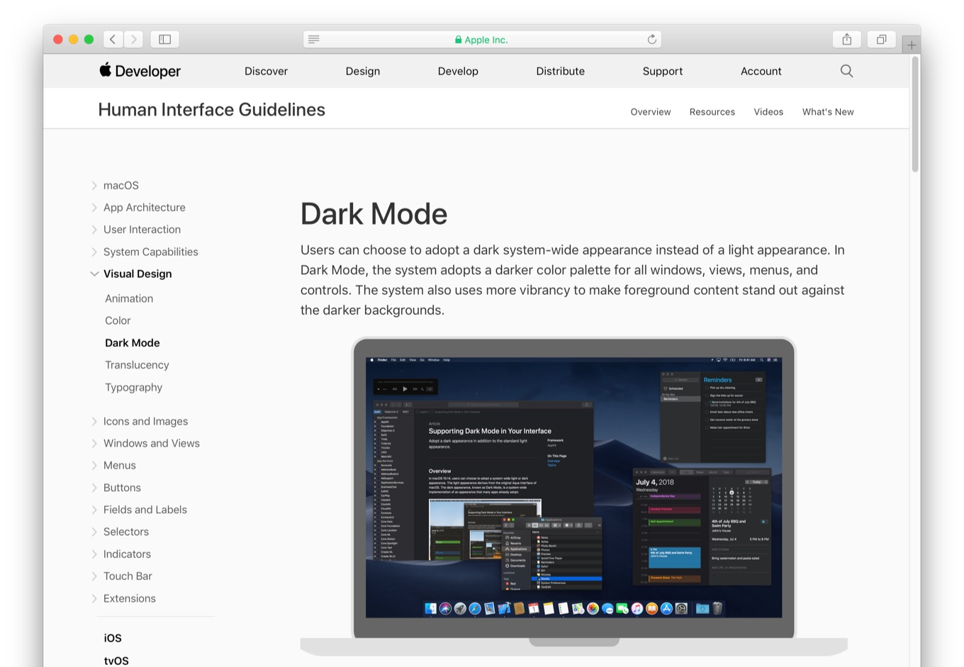 Apple Human Interface Guidelines and Dark Mode