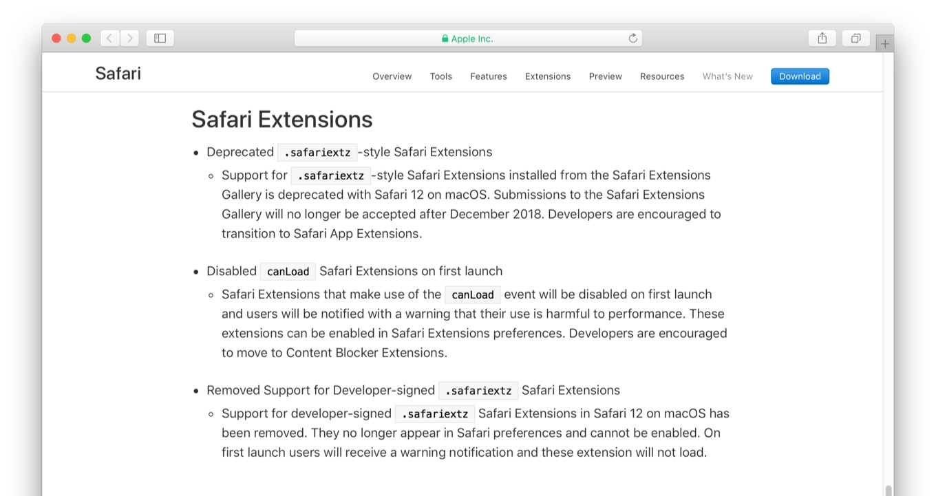 Deprecated .safariextz-style Safari Extensions