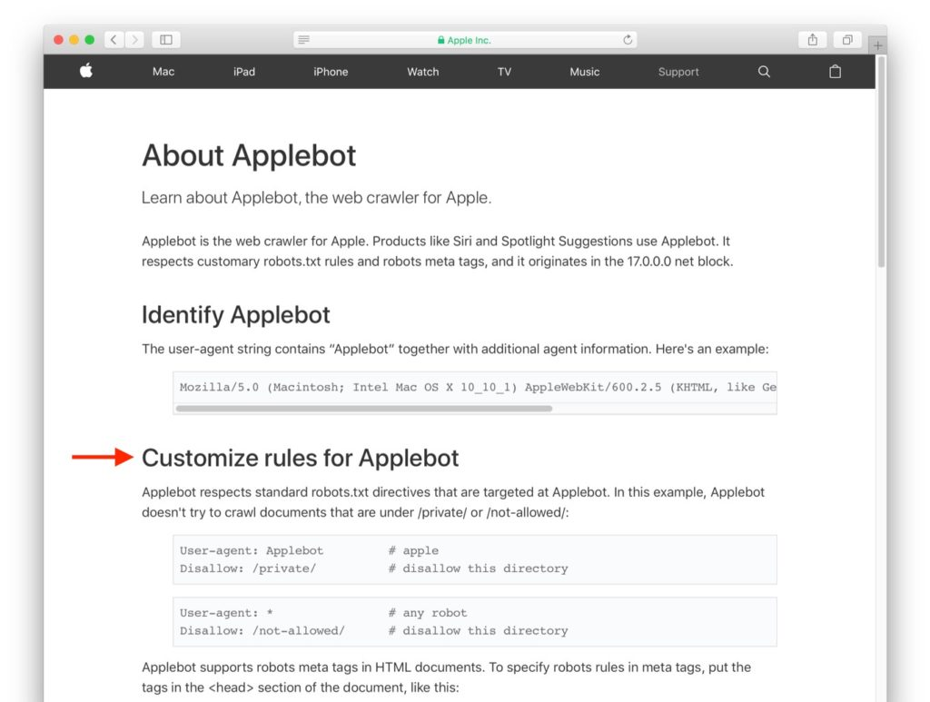 Customize rules for Applebot