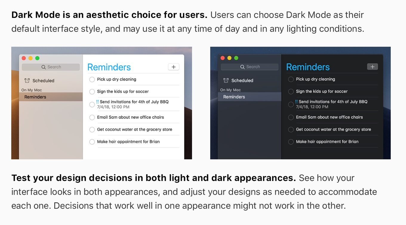 Test your design decisions in both light and dark appearances