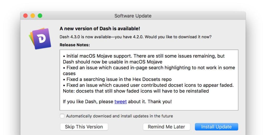 macOS 10.14 MojaveをサポートしたDash