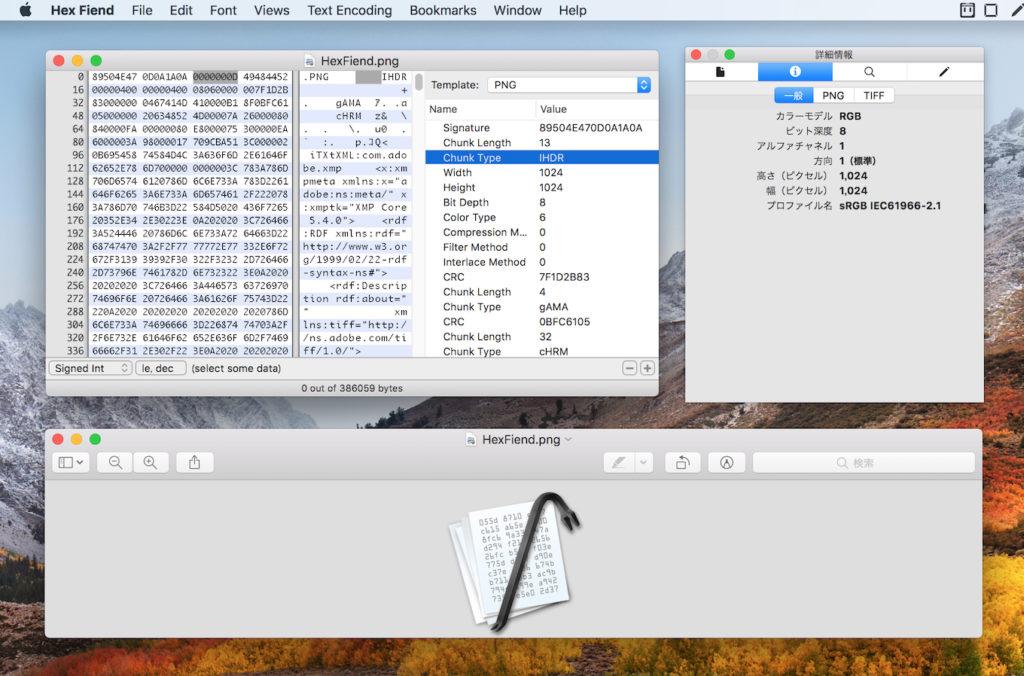 Hex Fiend v2.9のBinary Templates機能