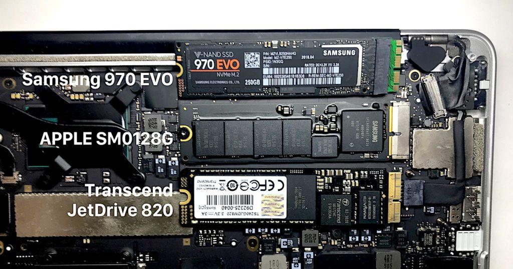 Samsung 970 EVOとApple SM0128G, Transcend JetDrive 820