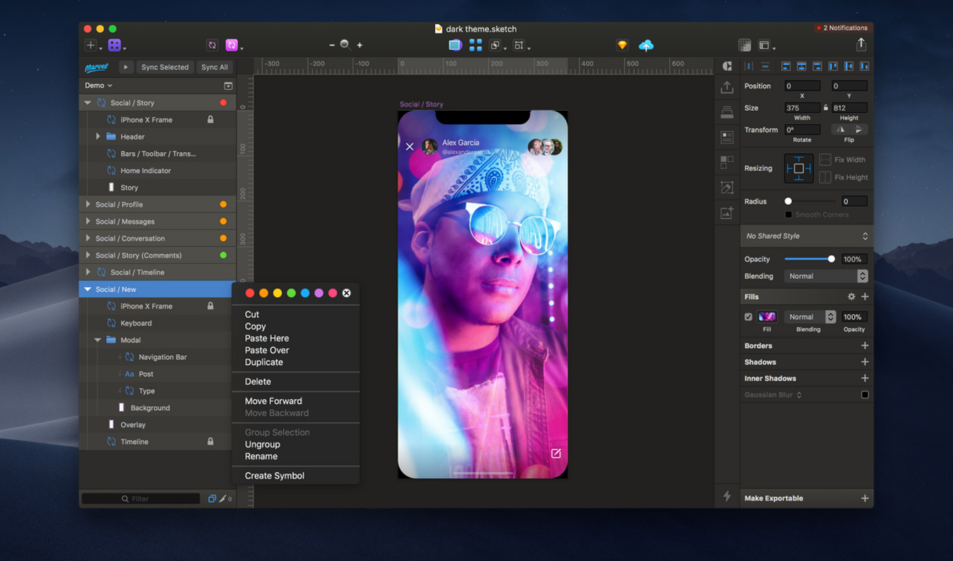 Sketch Dark Mode on macOS Mojave