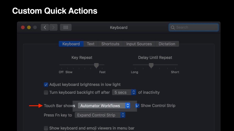 macOS 10.14 MojaveのAutomator Touch Bar