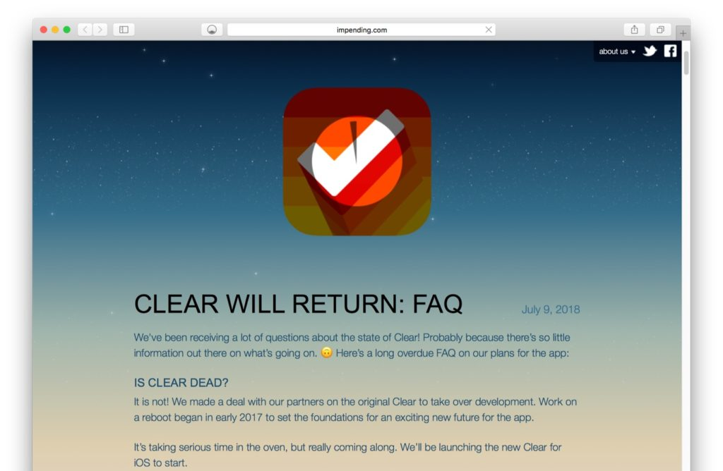 CLEAR WILL RETURN