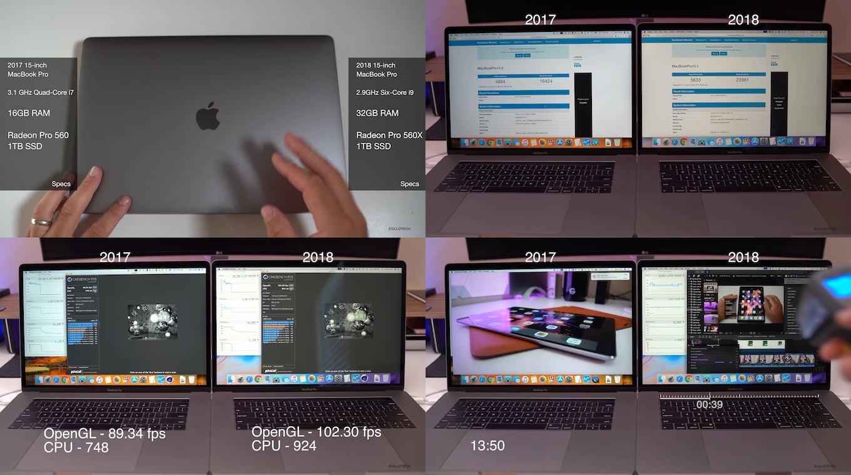 MacBook Pro 2017と2018のベンチマーク
