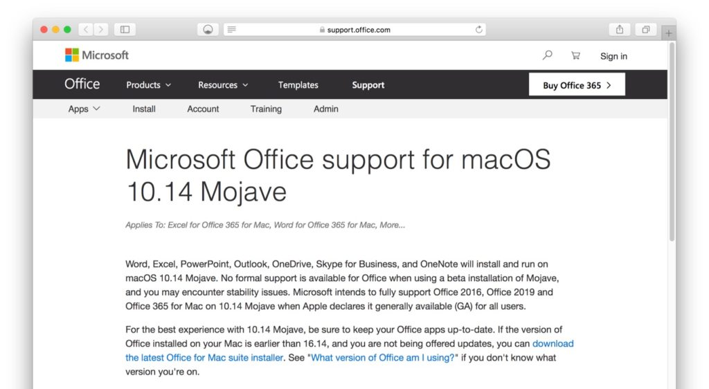 Microsoft Office support for macOS 10.14 Mojave
