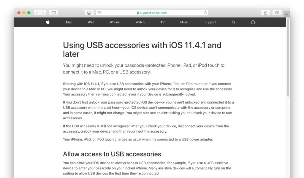 Using USB accessories with iOS 11.4.1 and later