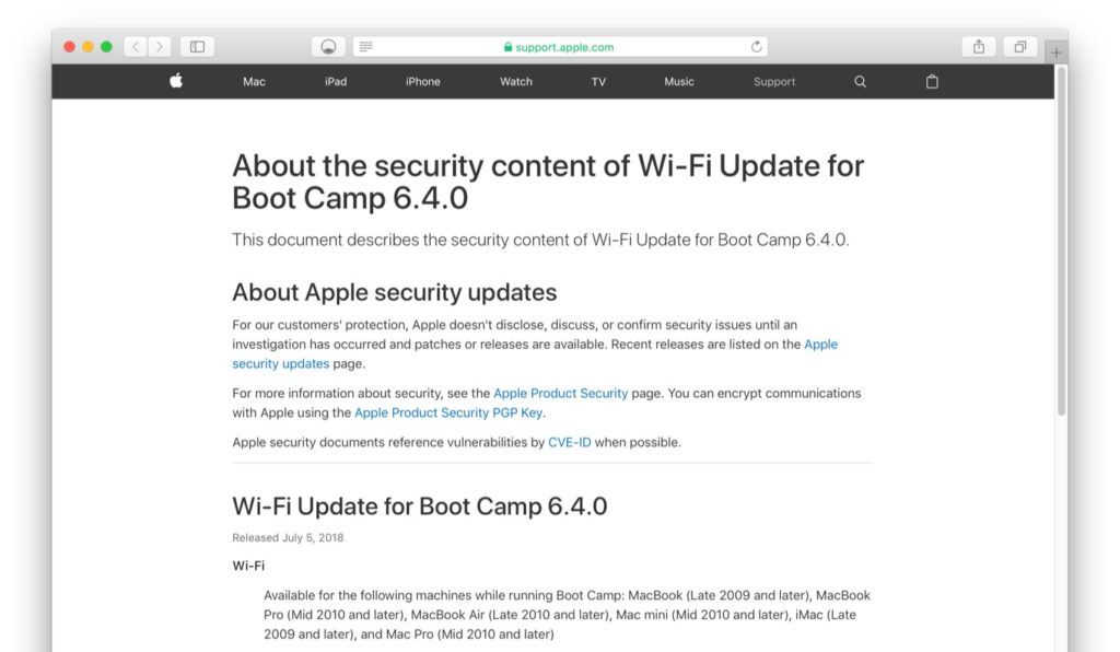 Wi-Fi Update for Boot Camp 6.4.0