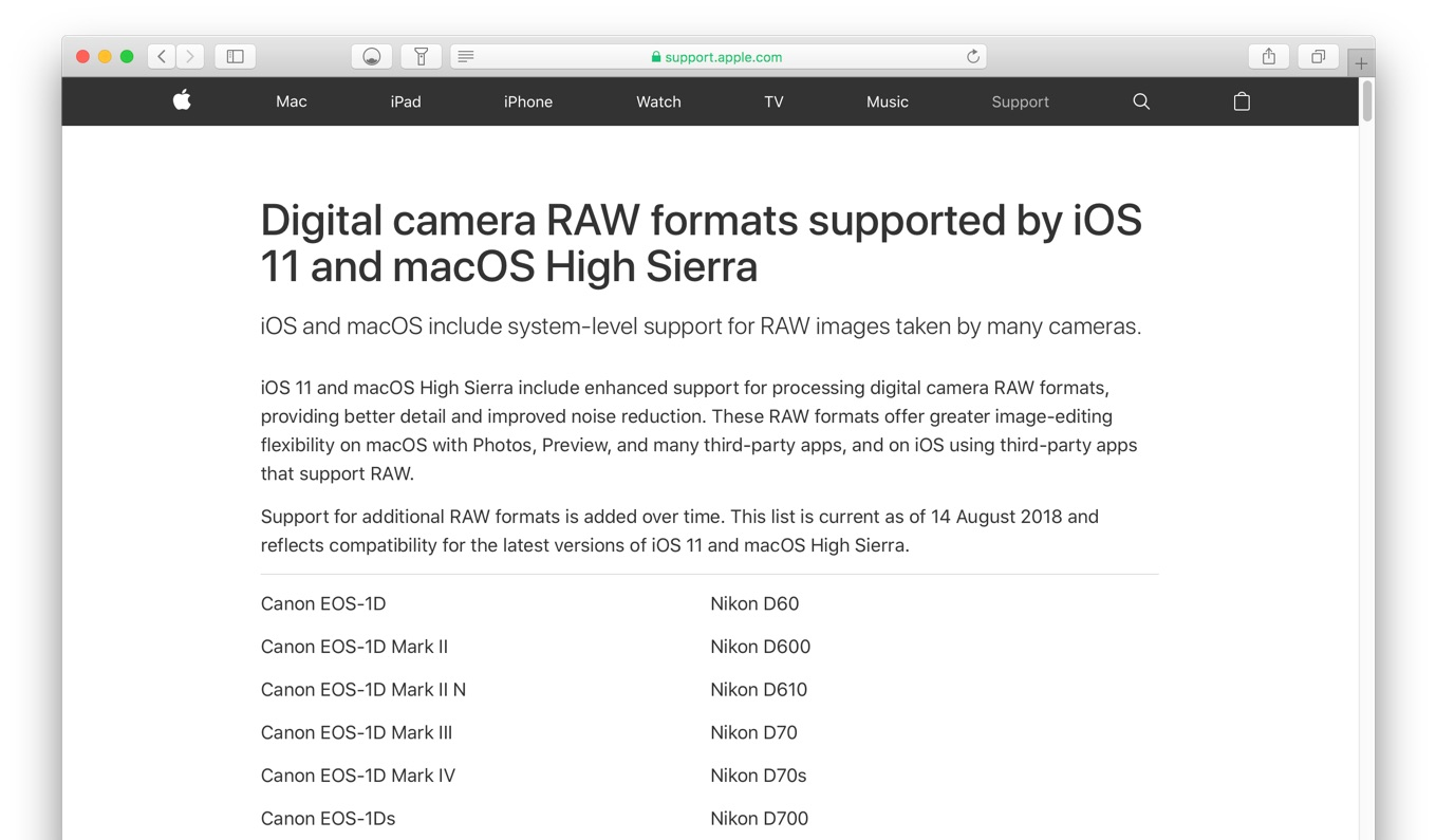 Digital camera RAW formats supported by iOS 11 and macOS High Sierra