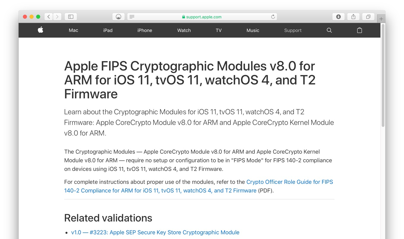 Apple FIPS Cryptographic Modules v8.0 for ARM for iOS 11, tvOS 11, watchOS 4, and T2 Firmware
