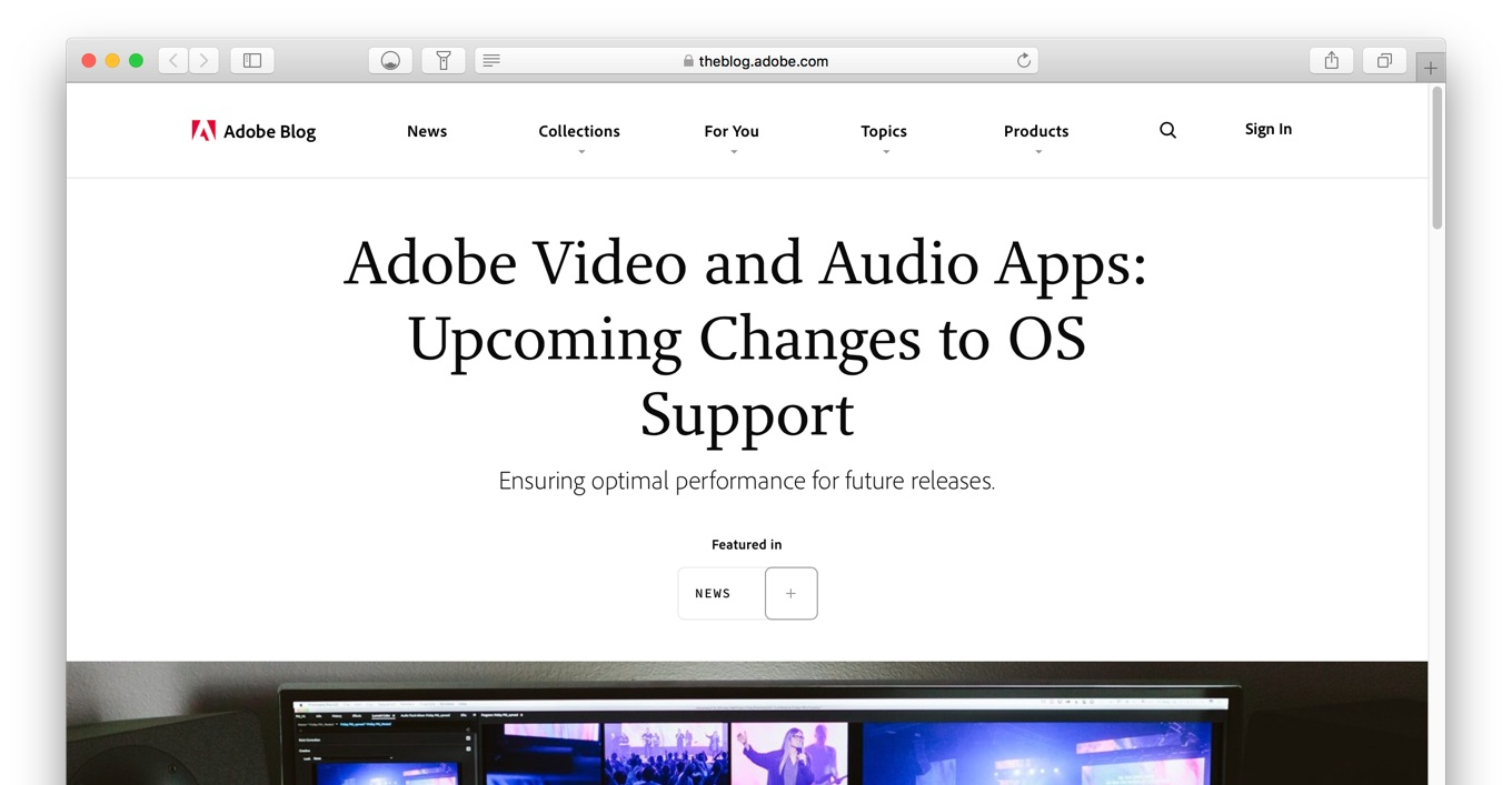 Adobe Video and Audio Apps: Upcoming Changes to OS Support