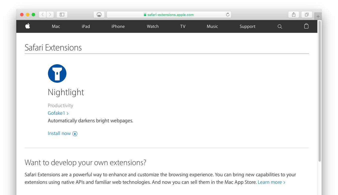 Nightlight Safari Extensions Gallery