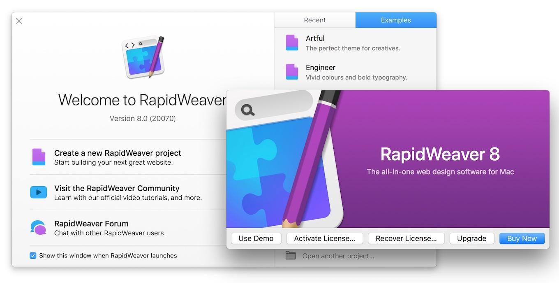 RapidWeaver v8のHelloウィンドウ
