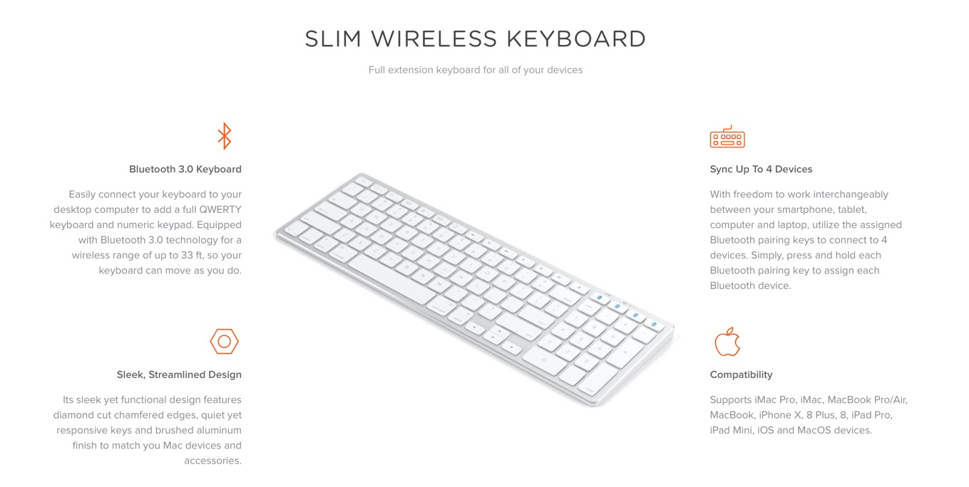 Aluminum Bluetooth Slim Wireless Keyboard