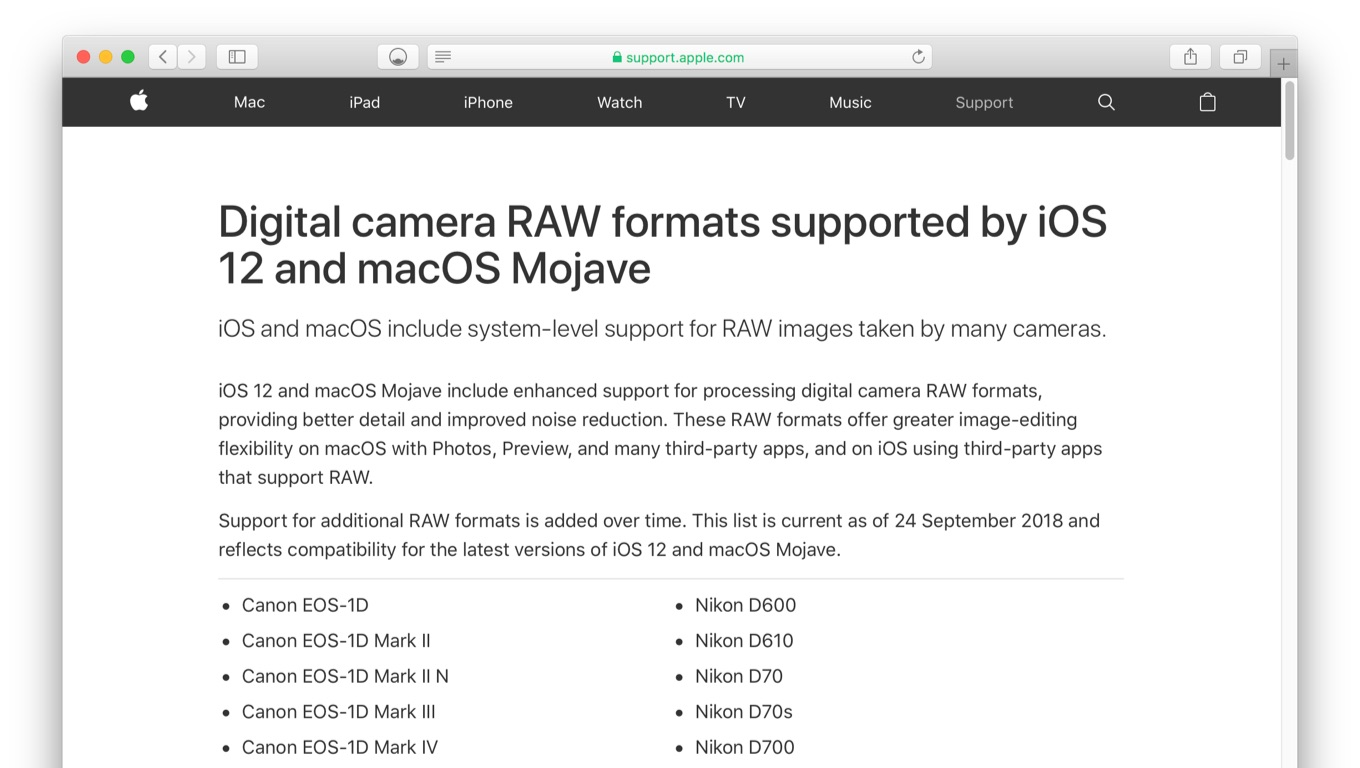 Digital camera RAW formats supported by iOS 12 and macOS Mojave - Apple Support