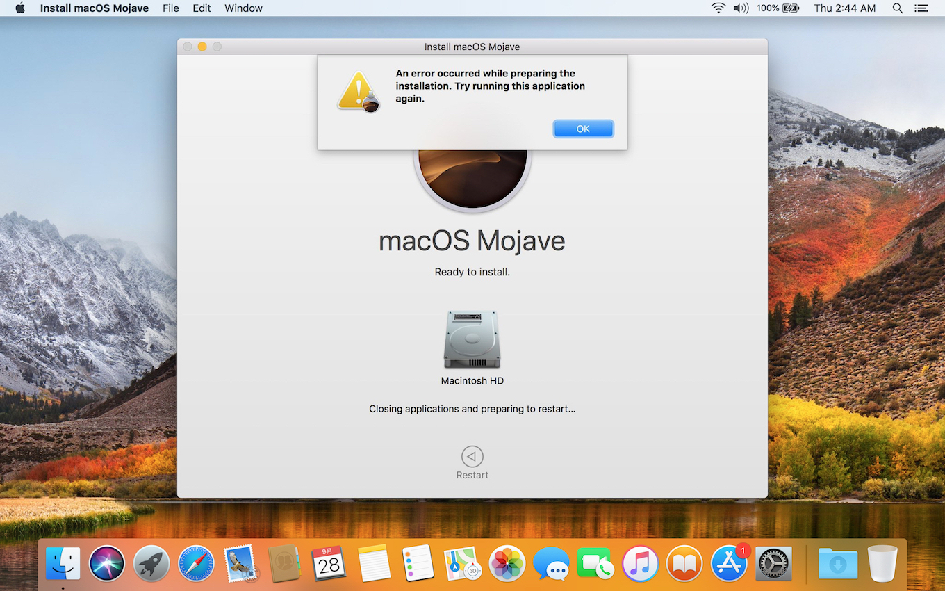 An error occurred installing macOS Mojave