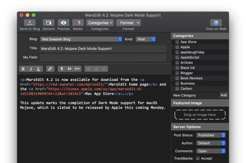 macOS 10.14 MojaveのダークモードをサポートしたMarsEdit