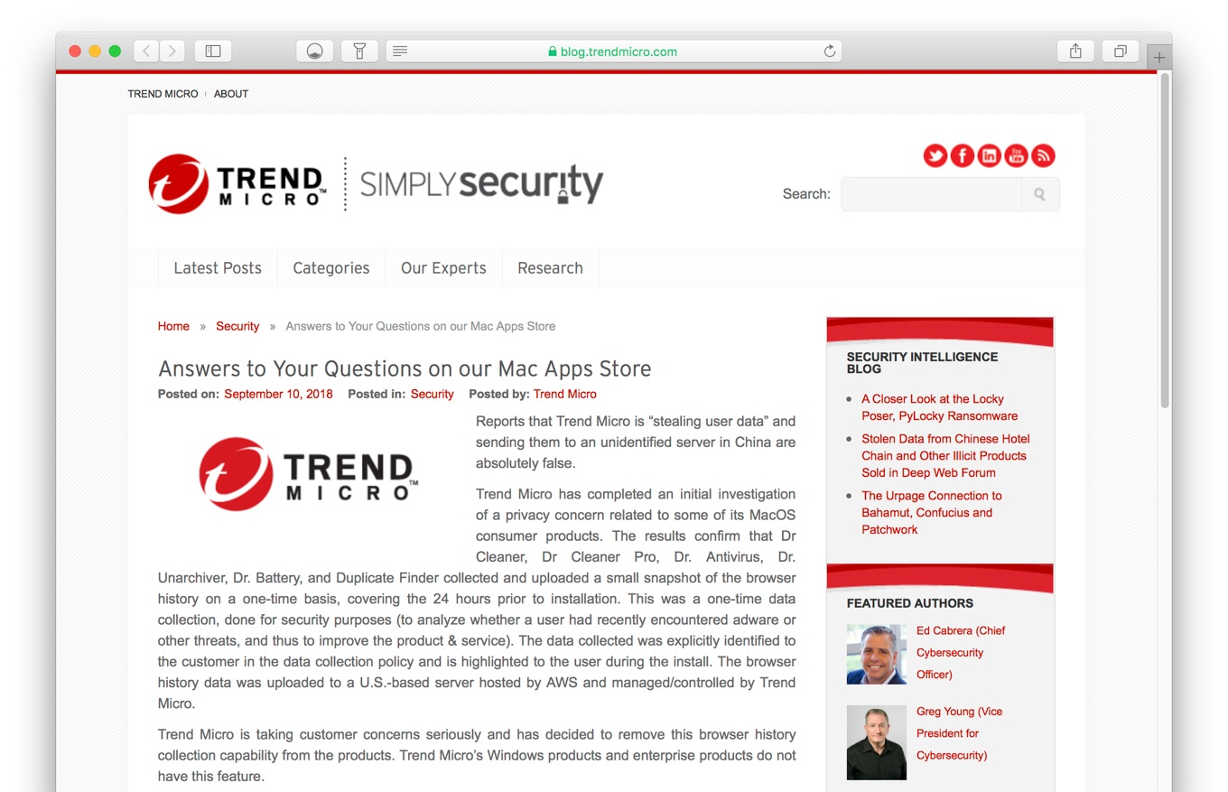 Trend Micro Answers to Your Questions on our Mac Apps Store