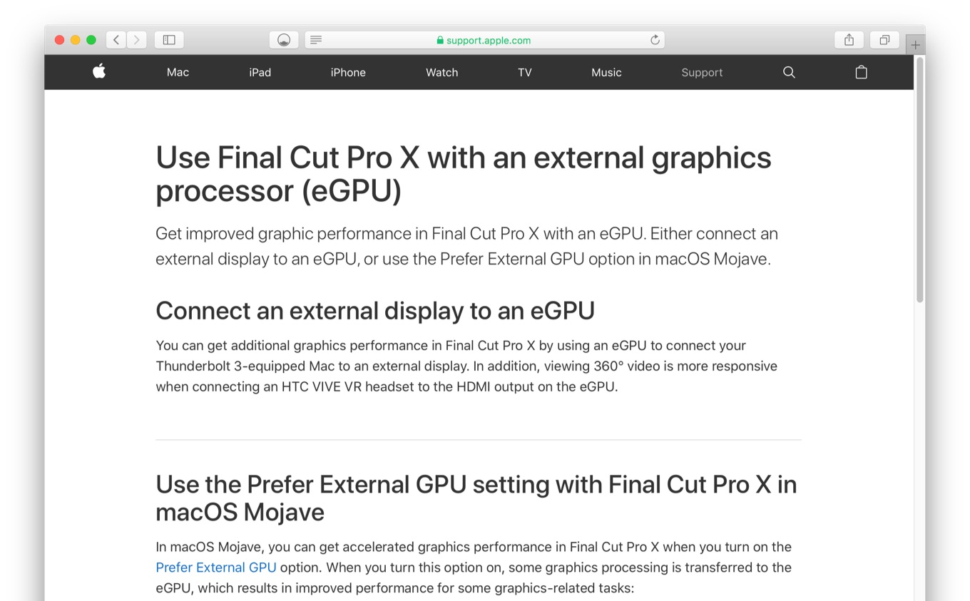 Use Final Cut Pro X with an external graphics processor (eGPU)