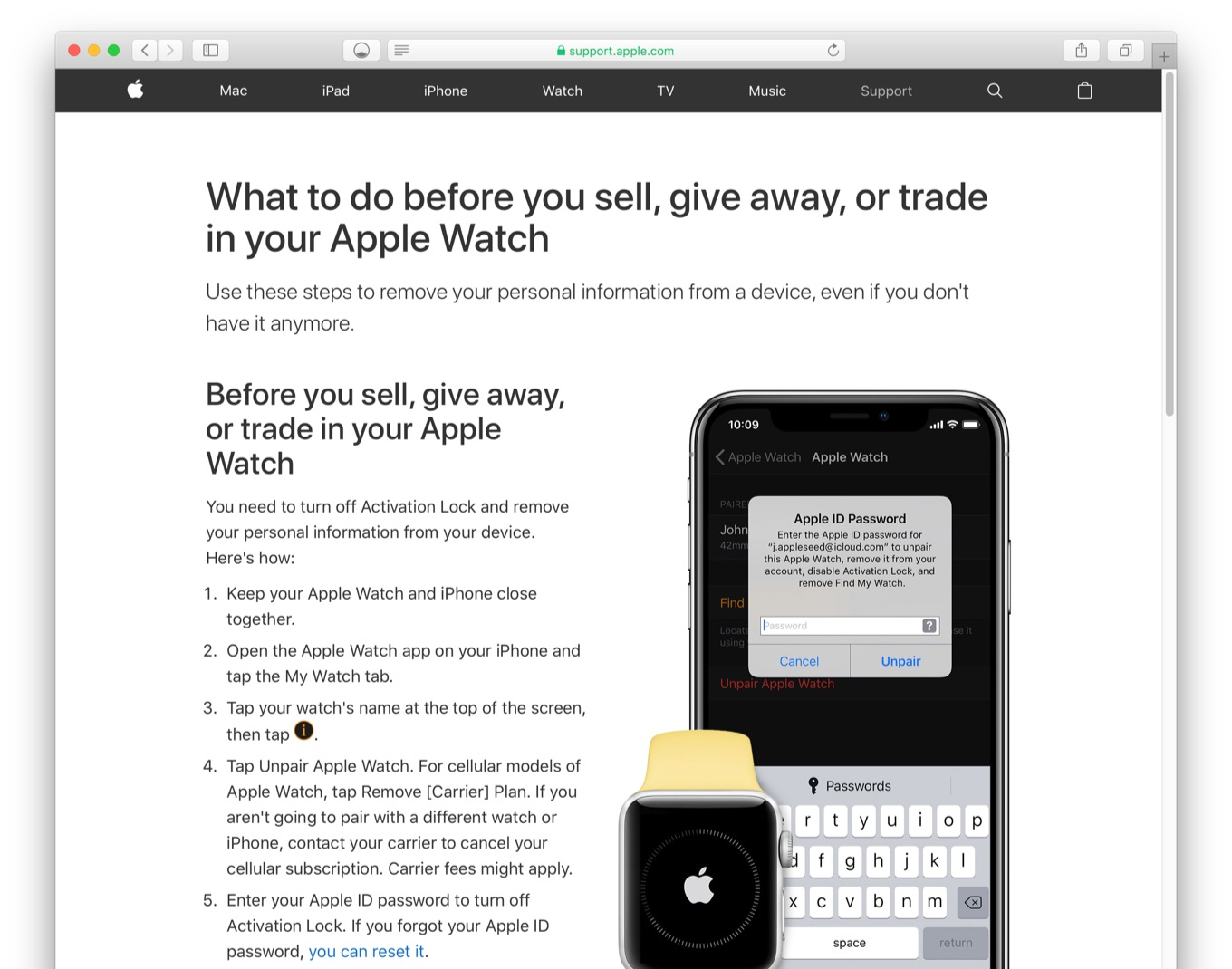What to do before you sell, give away, or trade in your Apple Watch