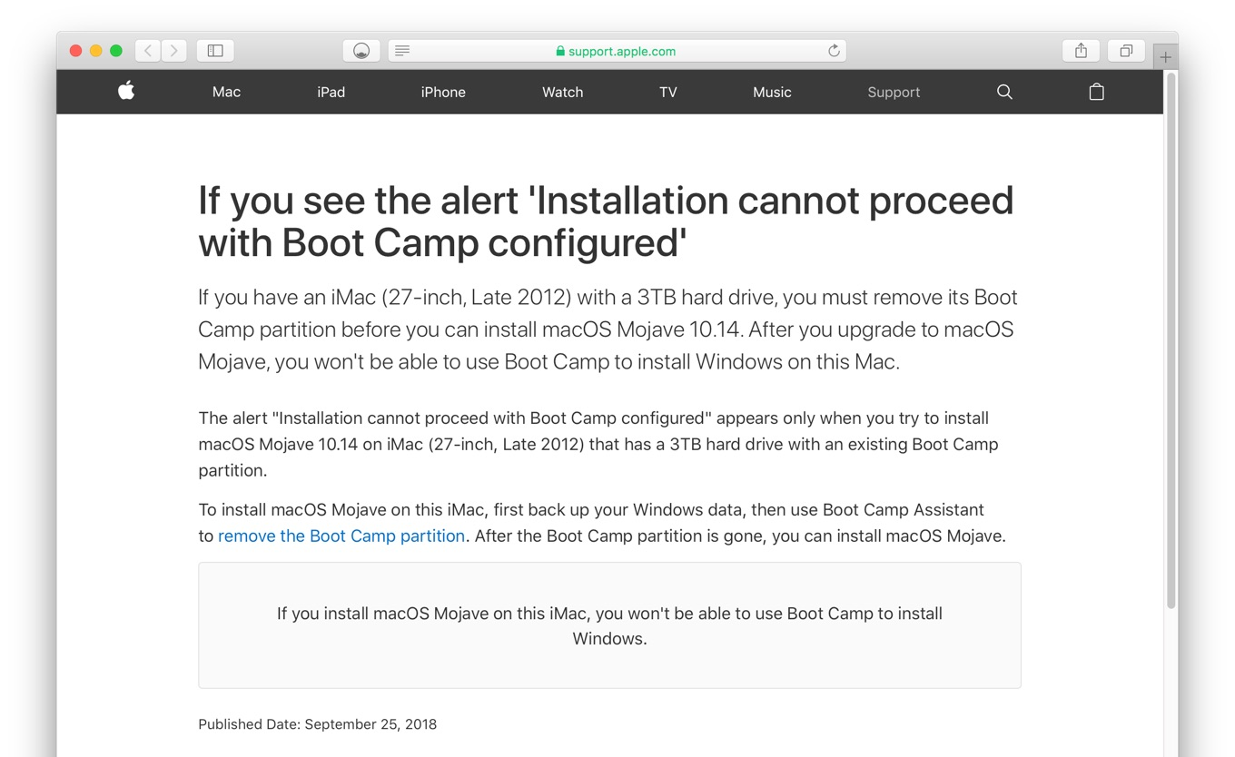 If you see the alert 'Installation cannot proceed with Boot Camp configured'