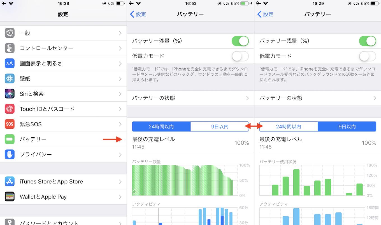 iOS v12のバッテリー使用状況