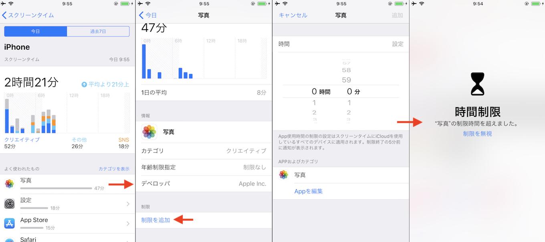 iOS 12のスクリーンタイムコントロール