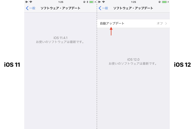 iOS 12の自動アップデート機能