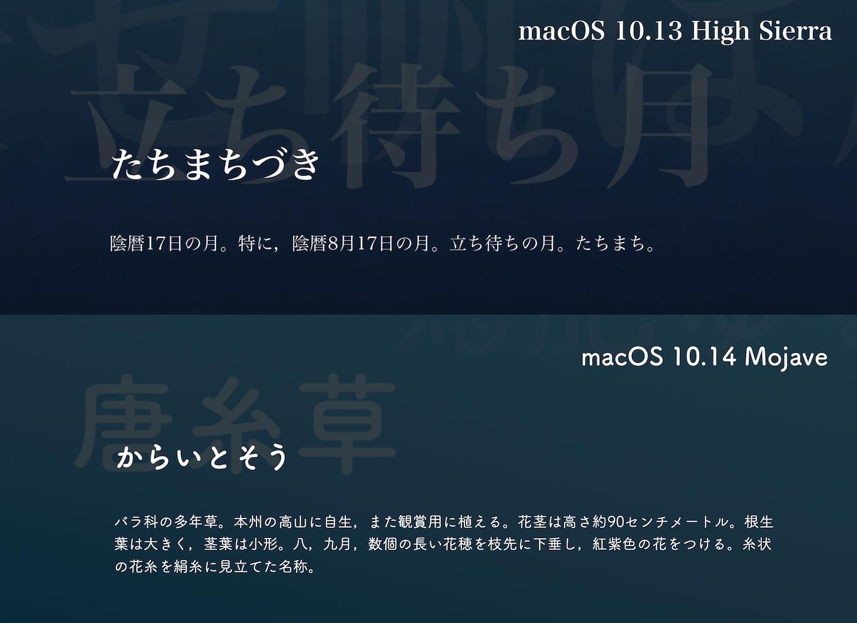 macOS 10.14 Mojaveの今日の一言