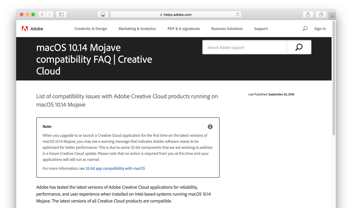 macOS 10.14 Mojave compatibility FAQ | Creative Cloud