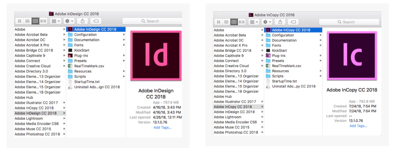 select Adobe InDesign CC 2018.app/Adobe InCopy CC 2018.app