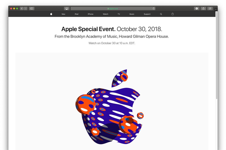 Apple、日本時間2018年10月30日23時よりスペシャルイベントを開催&ライブストリーミング配信すると発表。