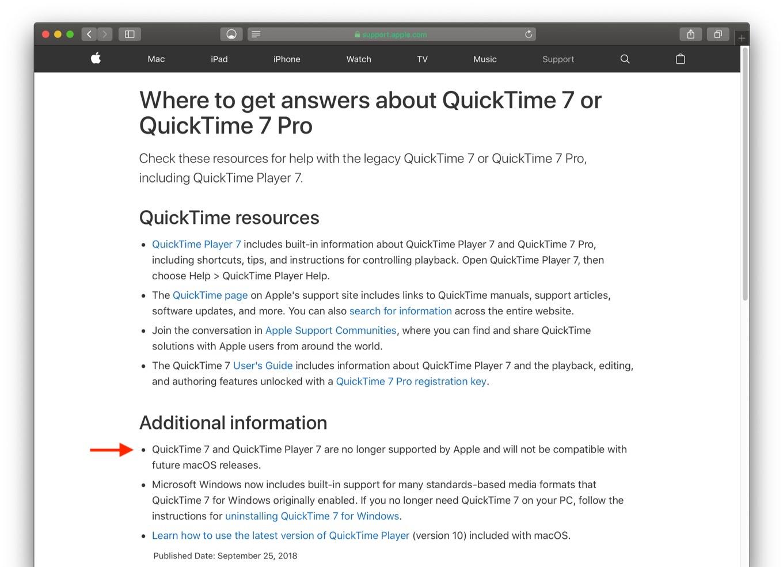 Apple では、QuickTime 7 および QuickTime Player 7 のサポートを終了いたしました。今後リリースされる macOS での対応予定はありません。