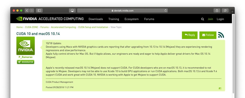 CUDA 10 and macOS 10.14