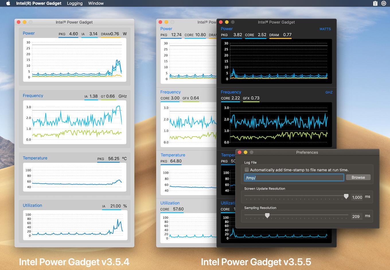 Intel Power Gadget v3.5.4とv3.5.5のダークモード