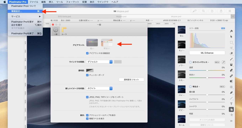 Pixelmator Pro 1.2 Quicksilverのライトモード