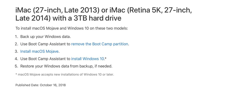 iMac (Retina 5K, 27-inch, Late 2014) とMojaveとBootCampと