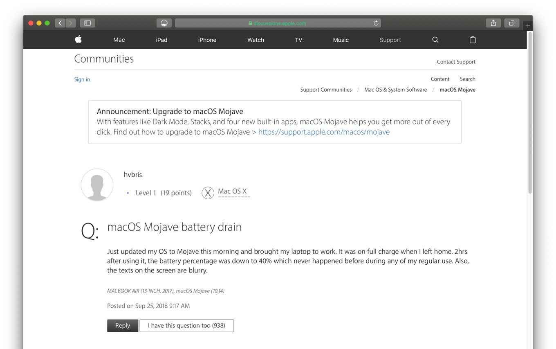macOS 10.14 MojaveにアップグレードしたMacBook Proのバッテリードレイン