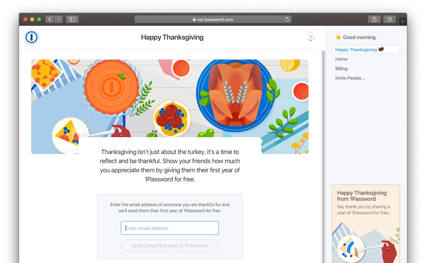 Special Thanksgiving presents from 1Password