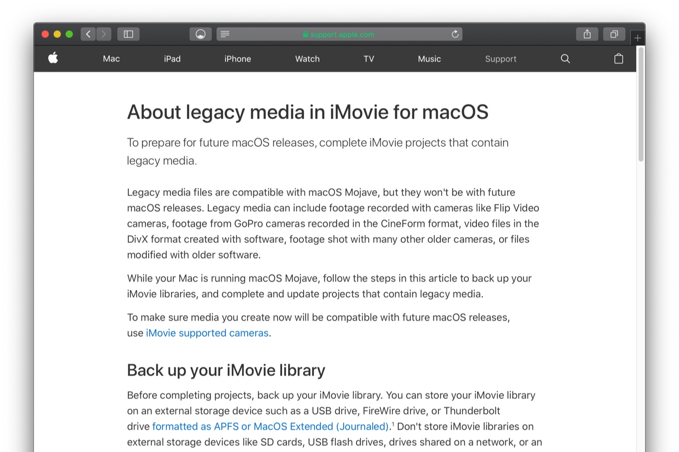 About legacy media in iMovie for macOS