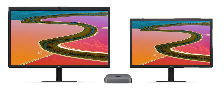 Mac mini (2018)に接続されたLG 5K&4Kディスプレイ