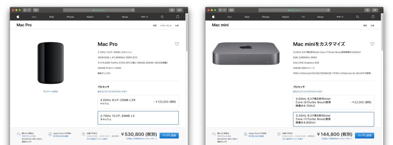 Mac Pro (2013)とMac mini (2018)