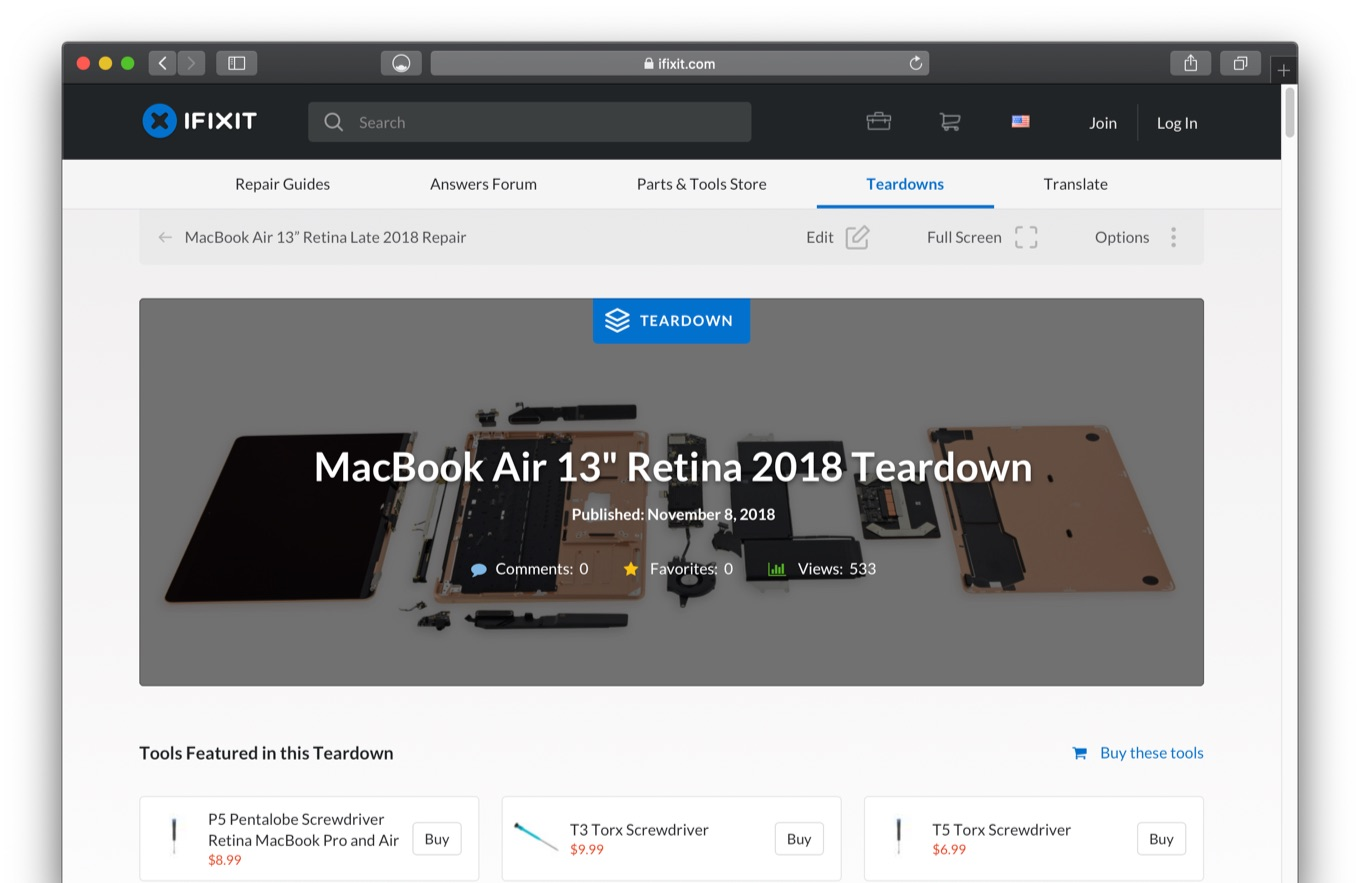 MacBook Air (Retina, 13inch, 2018) Teardown