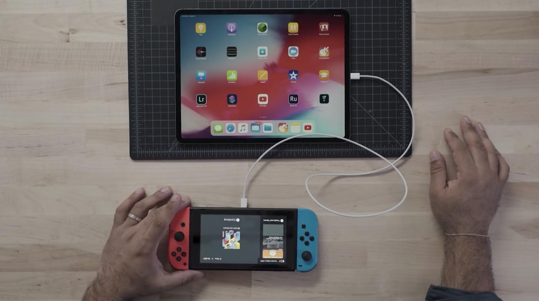 iPad Proで充電されるNintendo Switch