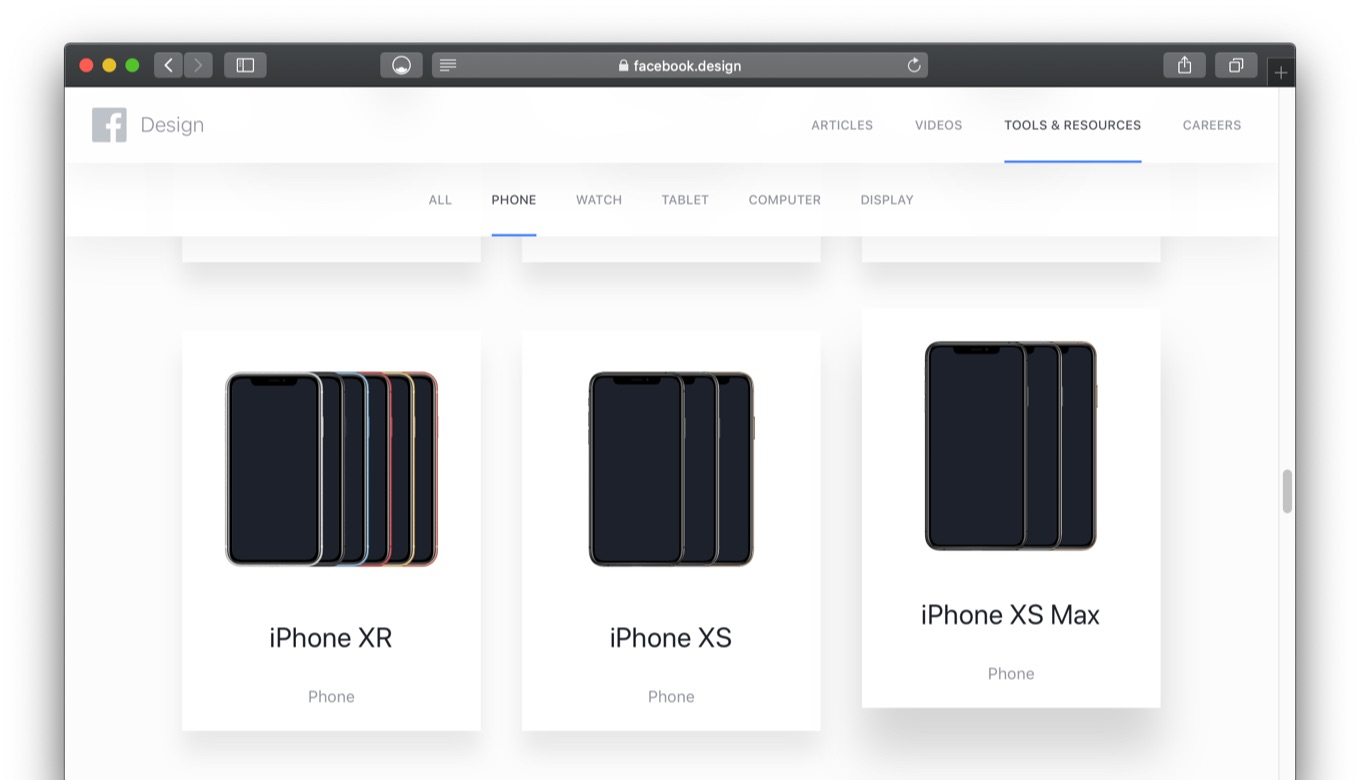 Facebook mages and Sketch files of popular devices.