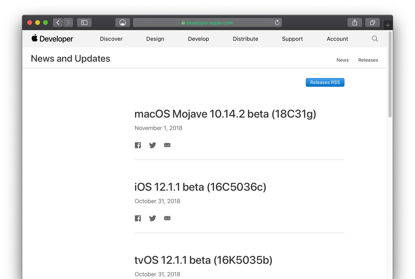 macOS 10.14.2 Mojave beta 1 Build 18C31g